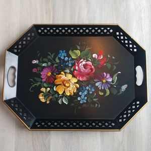 Nashco Hand Painted Floral Tole vintage tr…